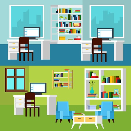 orthogonal: Horizontal banners of office interior compositions presenting workplaces with computers and relaxing space orthogonal vector illustration