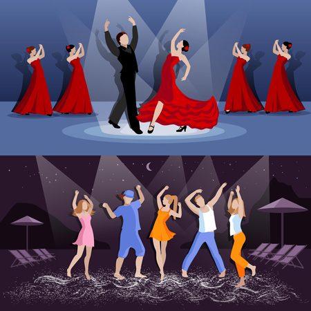 bailando flamenco: La gente bailando flamenco en el escenario y adolescentes que tienen fiesta en la playa en la noche ilustración vectorial aislado plana