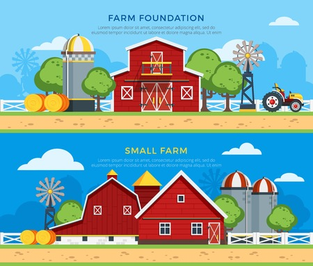 Two farm flat horizontal banners with farm foundation and small farm icons collections on countryside background flat vector illustration Illustration