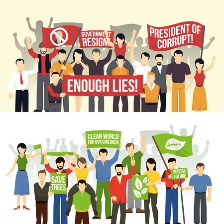 picket: Political and ecological demonstrations horizontal banners with crowd demanding people with flags placards isolated vector illustration