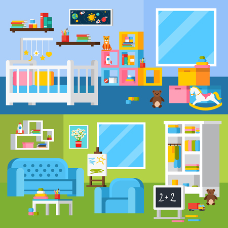 nursery room: Nursery room flat banners with cradle furniture for little child shelves books chalkboard and toys vector illustration
