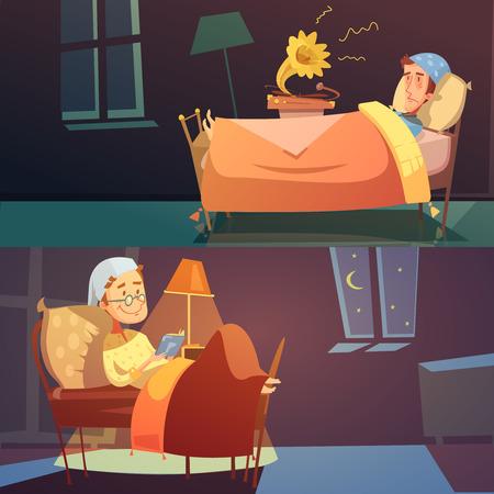 bannières de couleurs horizontales depictin homme au lit en verre avec illustration vectorielle mauvais et bon sommeil Vecteurs