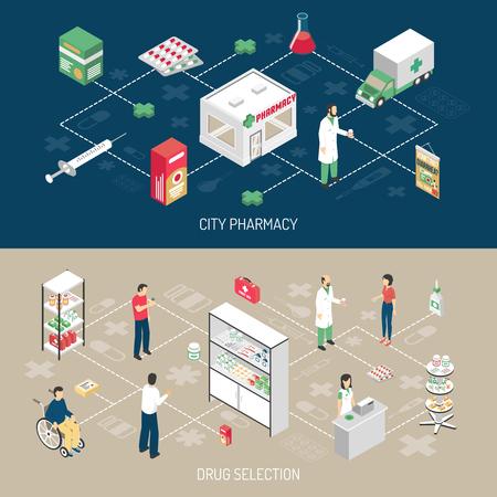 utiles de aseo personal: Farmacia 2 banners horizontales con isométricos farmacéutico asistentes al cliente perjudicado con la ilustración vectorial elementos de diagrama de flujo de infografía aislado