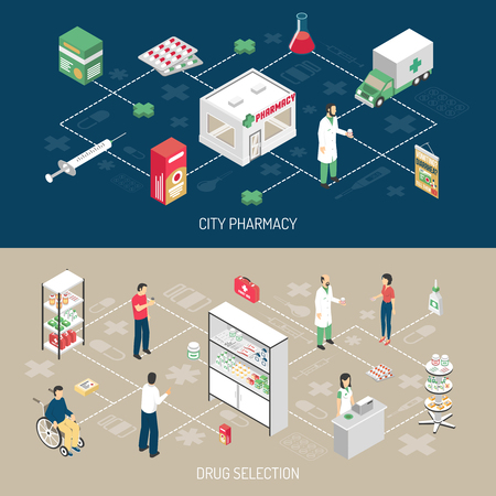 pharmacologist: Pharmacy 2 horizontal isometric banners with druggist attending handicapped customer with infographic flowchart elements isolated vector illustration