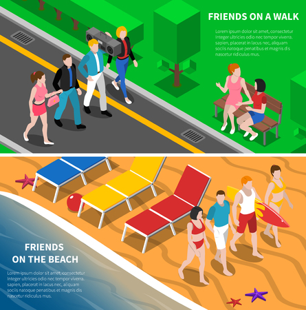 seashore: Friends walking together in the park and on the beach 2 isometric banners abstract isolated vector illustration Illustration