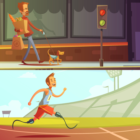 blind man: Color cartoon illustration depicting disabled people blind man with dog and runner with prosthesis instead of legs vector illustration