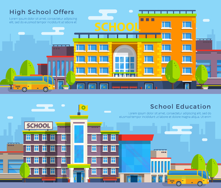 high school: Big colorful school and high school buildings with school buses on cityscape background flat banners isolated vector, illustration Illustration