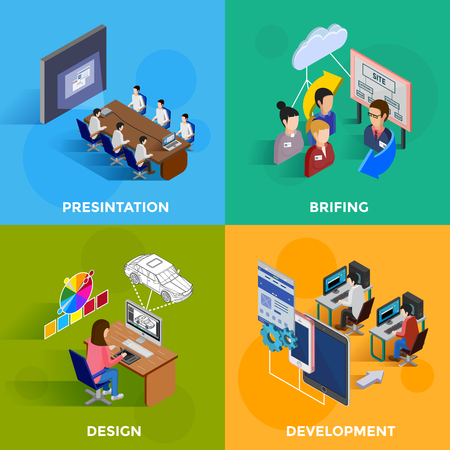 briefing: Isometric development 2x2 design concept set of designers and programmers on software presentation and new website briefing flat vector illustration