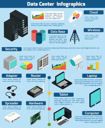 Data center infographics presenting statistics and information about different devices data base cloud service and wireless technology on blue background isometric vector illustration Ilustrace