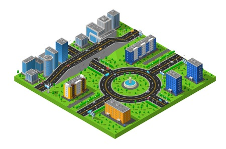 districts: City business and residential districts isometric map poster with circular roundabout intersection with central island abstract vector illustration