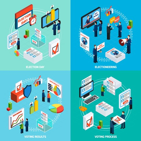 voter registration: Elections and voting isometric 2x2 design concept with people busy in electioneering debate and voting process flat vector illustration Illustration