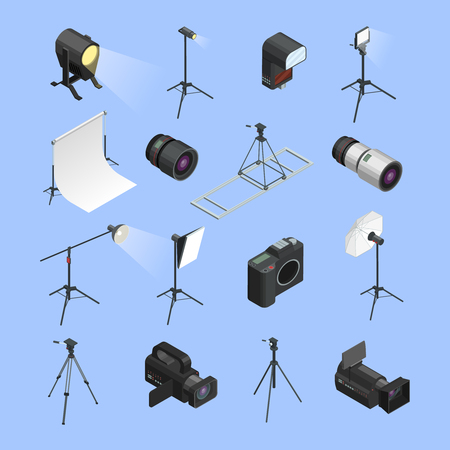 professional equipment: Professional photo studio equipment isometric icons set with camera portrait lens and lighting realistic isolated vector illustration Illustration