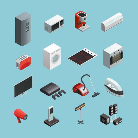electrodomésticos iconos isométricos se establece con la aspiradora lavadora nevera y cafetera aislado fabricante de ilustración vectorial