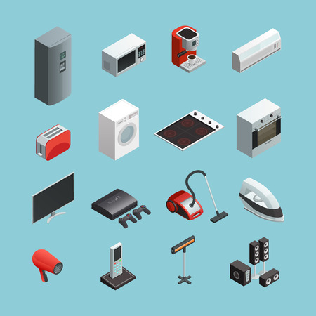 Household appliances isometric icons set with vacuum cleaner refrigerator washing machine and coffee maker isolated vector illustration