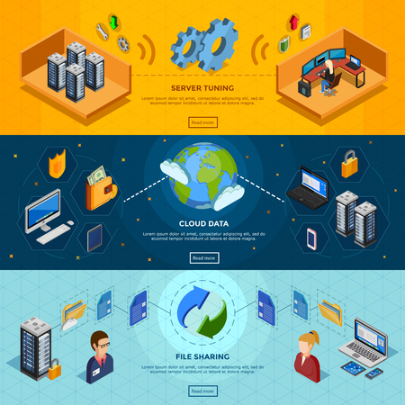 datacenter: Datacenter isometric three horizontal banners with server tuning cloud data and file sharing design compositions flat vector illustration