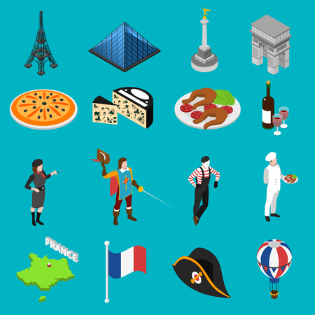 french cuisine: French sightseeing landmarks and national cuisine for tourists with eiffel tower and wine abstract isolated vector illustration