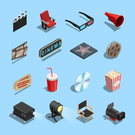 Cinema movie theater accessories and gadgets isometric icons set with projector 3d glasses and snacks isolated vector illustration
