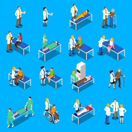 medical practice: Communication and therapeutic doctor patient relationship in clinical medical practice isometric icons collection abstract isolated vector illustration