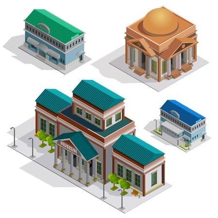 Banque et musée des bâtiments de la ville icônes décoratives isométriques fixés avec des piliers et des éléments dans le style du classicisme isolé illustration vectorielle