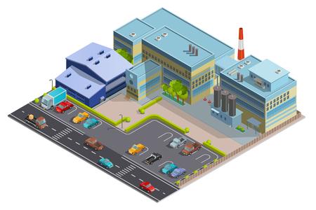 大きな複雑な建物が付いている領域の工場コンポジションには、製造会社の倉庫と事務所が含まれているセグメントの等尺性のベクトル図  イラスト・ベクター素材