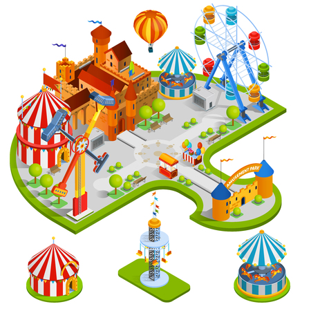 Amusement kids park isometric composition with medieval castle ferris wheel carousel circus tent in cartoon style vector illustration
