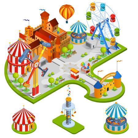 niños parque de atracciones composición isométrica con el castillo medieval de la fortuna rueda de carrusel carpa de circo en la ilustración vectorial estilo de dibujos animados