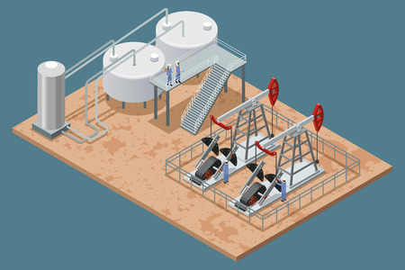 facilities: Oil production facilities and equipment isometric poster with platform refinery elements and 2 pumpjacks set vector illustration