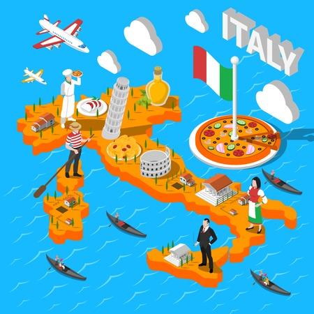 Italia isométrica mapa de turismo cultural para los turistas con mozzarella de pizza y la torre inclinada de Pisa resumen ilustración vectorial