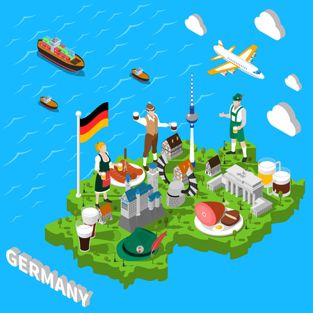 tirol: Germany isometric cultural sightseeing map for tourists with traditional national cuisine and landmarks symbols  abstract vector illustration