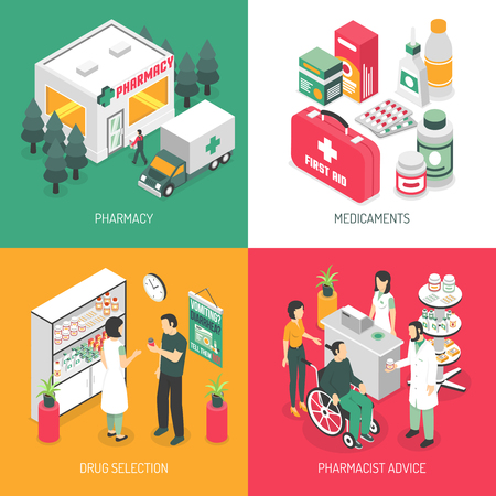 druggist: Pharmacy isometric 4 icons square with druggist advise on prescribed medication and ambulance service isolated vector illustration