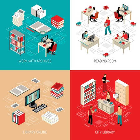 librarian: City library reading room with online archive and catalog access 4 isometric icons square abstract vector illustration
