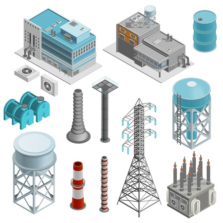 Industrial buildings isometric icons set with elements of power station boiler plant and power line supports vector illustration