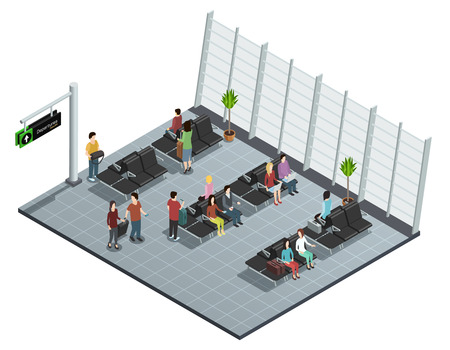 lounge room: Airport departure lounge isometric view poster with passengers sitting and waiting before boarding plane vector illustration