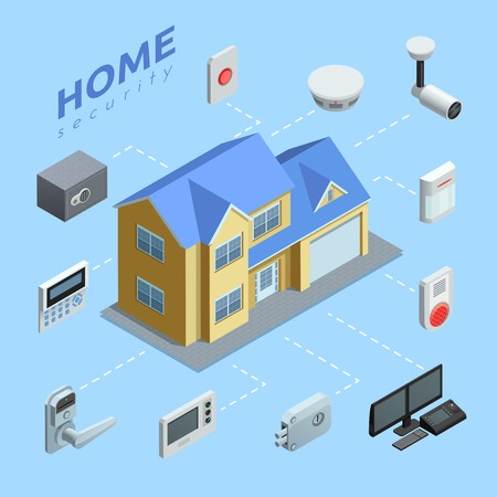 home security: Home security company service isometric flowchart with automated surveillance camera alarm and cctv system abstract vector illustration