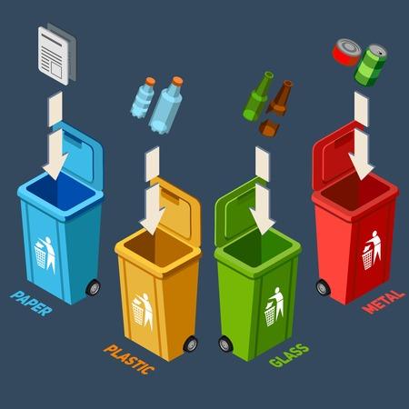 separacion de basura: Gestión de residuos concepto isométrica con diferentes contenedores de reciclaje de colores ilustración vectorial para la separación de basura Vectores