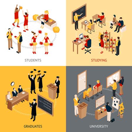 De universiteit en universitaire isometrische die pictogrammen van ontwerpconcept 2x2 met studenten in klaslokaalengediplomeerden worden geplaatst en de sprekers isoleerden vectorillustratie