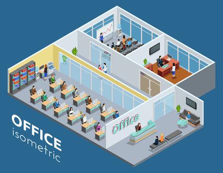 Isometrica di un livello vista interno di ufficio affari con reception laboratorio e sala conferenze del manifesto astratto illustrazione vettoriale