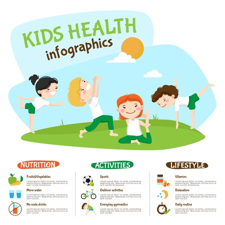 lifestyle outdoors: Healthy lifestyle tips for kids infographic poster webpage with children practicing yoga outdoors funny abstract vector illustration