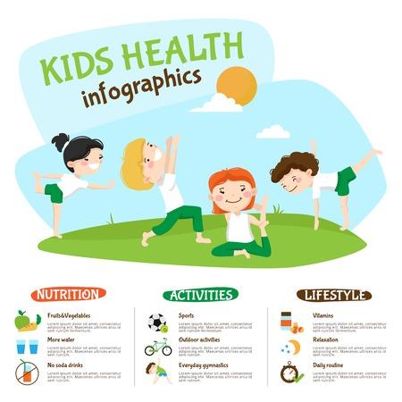 Zdrowy styl życia Porady dla dzieci infografika plakat strony z dziećmi uprawiania jogi na świeżym powietrzu zabawne streszczenie ilustracji wektorowych