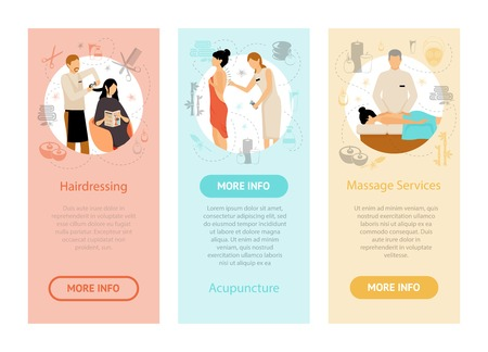 masseur: People having beauty procedures in spa salon vertical flat banners isolated vector illustration