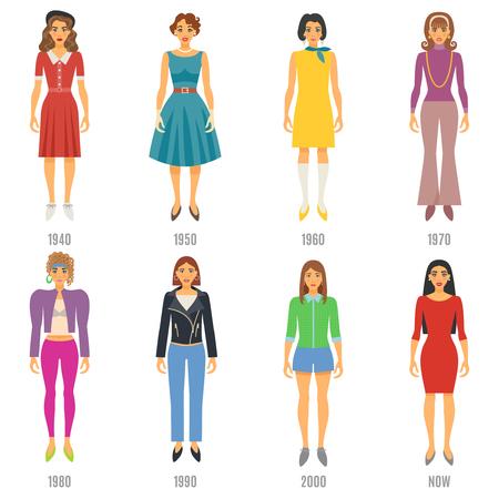 Mode féminine Icons Set. Mode Evolution Illustration Vecteur. Femme Mode Evolution Set décoratif. Mode Evolution Scénographie. Evolution Fashion Flat isolé manche courte.