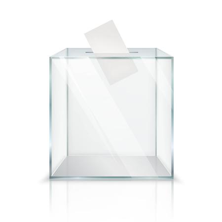 分離した白い背景ベクトル図にある穴にペーパーを投票で現実的な空透明な投票箱  イラスト・ベクター素材
