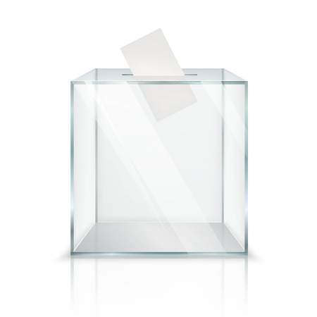 Realistic empty transparent ballot box with voting paper in hole on white background isolated vector illustration Illustration