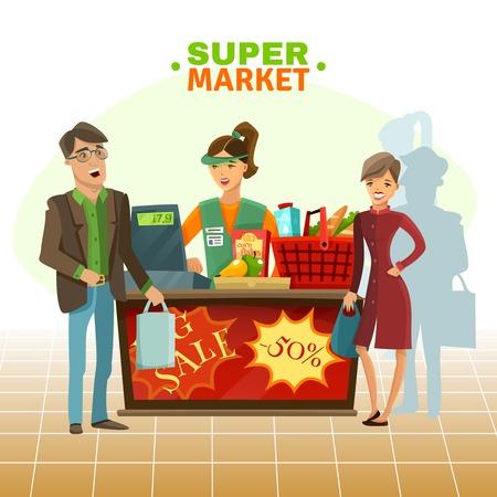 woman drinking milk: Supermarket cashier with customer food drink and basket cartoon vector illustration