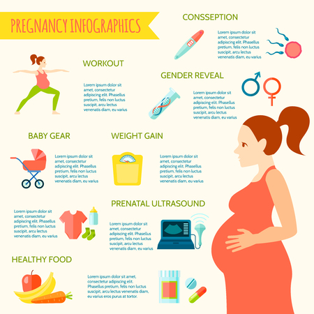 pregnancy exercise: Pregnancy infographic set with preparations for a baby symbols flat vector illustration