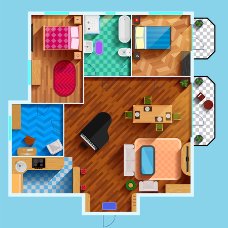Architectural floor plan of house with two bedrooms living room kitchen bathroom and furniture flat vector illustration