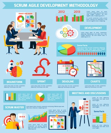 master page: Scrum agile development methodology and project management infographic flat poster with information statistics and diagrams vector illustration Illustration