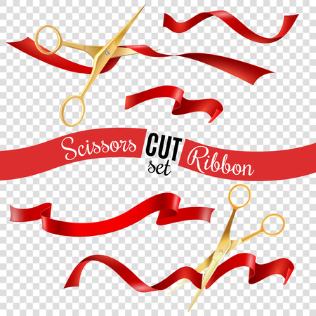 Golden scissors and ribbon transparent set with opening ceremony symbols realistic isolated vector illustration Ilustrace