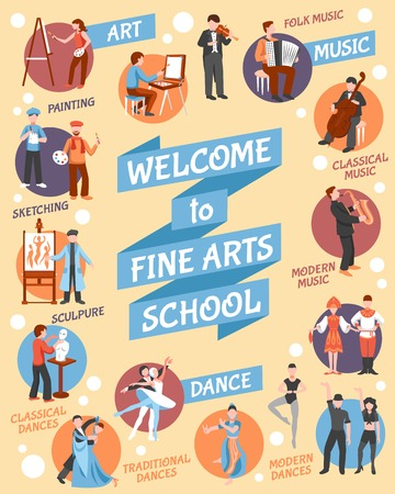 fine: Fine arts school poster with  art and dance symbols flat vector illustration