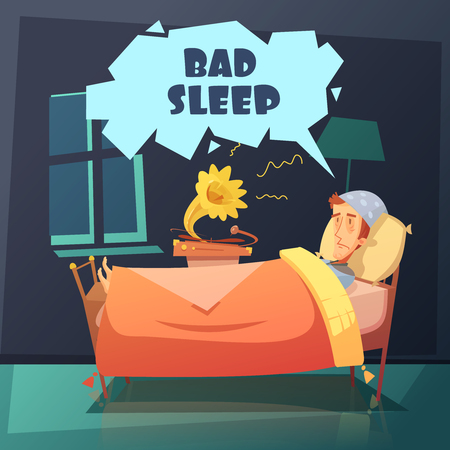 nightcap: Color illustration depicting man in bed at night with nightcap near gramophone with title bad sleep vector illustration Illustration
